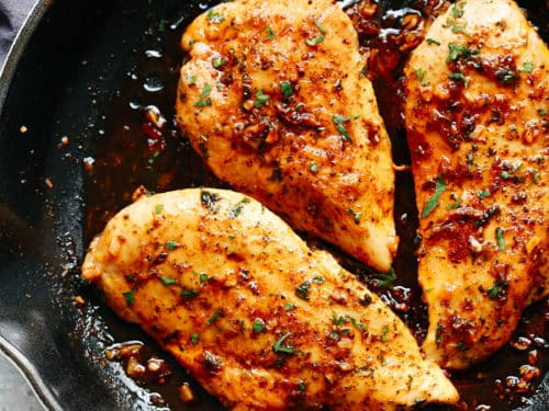 Chicken breasts cooked with herbs and garlic butter