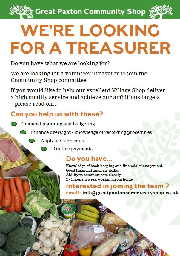 Treasurer vacancy advert