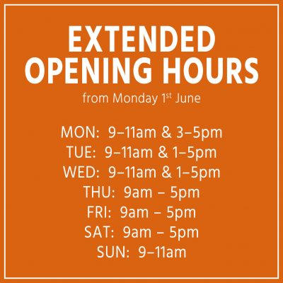 Extended opening hours – JUNE